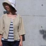 七分袖衿なしジャケット/綿グログラン