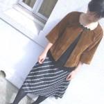 七分袖衿なしジャケット/ニセスエード